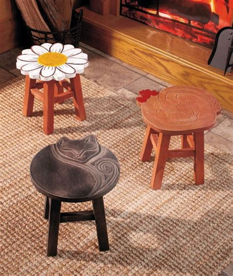 Cat Stools by Country Carved Wooden Stools Flower Rooster Or
