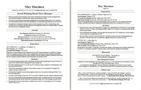 Retail Resume by Retail Manager Resume Sle