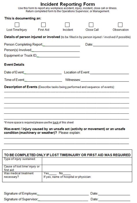free printable incident report template for ms word format