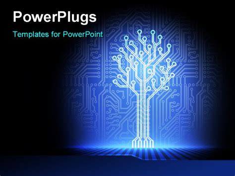 Electronic Tree - powerpoint template an illuminated part of a circuit 11049