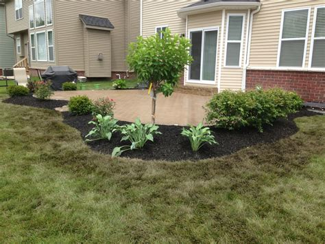 flower bed around brick paver patio for extra privacy hydrangea tree and hostas and burning