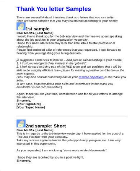 Employment Thank You Letter Email Sle Thank You Letter 9 Exles In Pdf