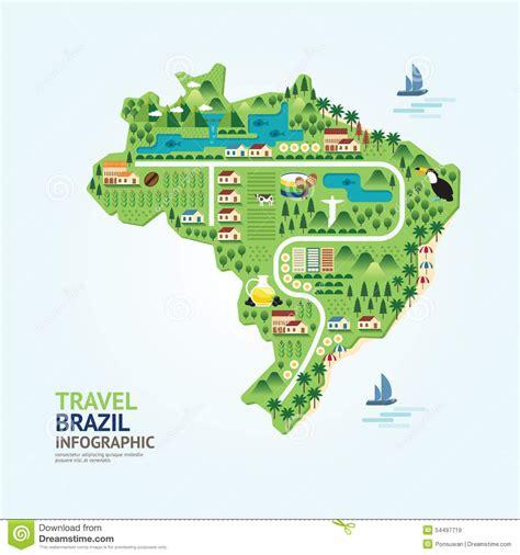 layout landmark 3 infographic travel and landmark brazil map shape template