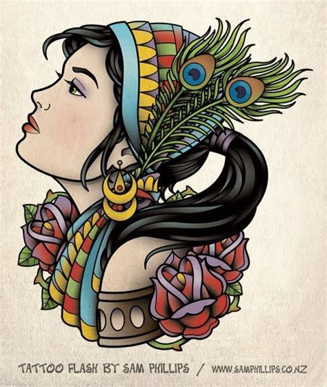 tattoo old school zingara significato gypsy head tattoo flash tattoos pinterest tatuajes