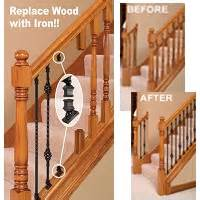 replacement banister stair makeover replacing wood balusters with wrought iron balusters