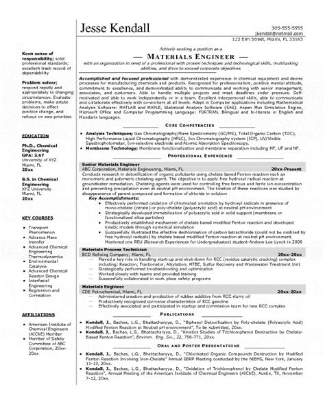 Resume Sample Mechanical Engineer by Materials Engineer Resume