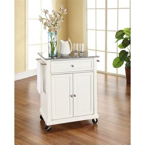 crosley furniture kitchen cart crosley furniture solid granite top kitchen cart in white