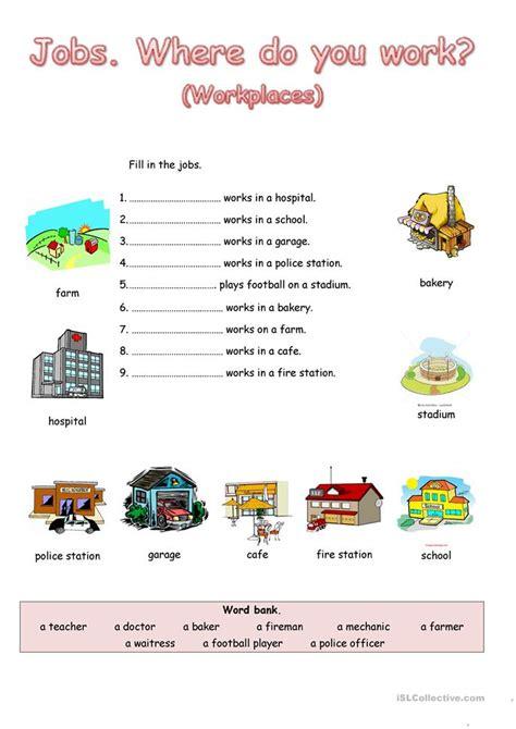 where do you work worksheet free esl printable