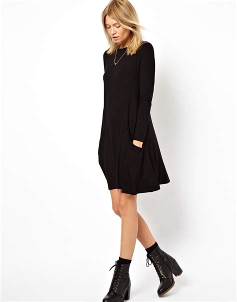 swing dress with pockets asos swing dress with pockets and long sleeves in black lyst