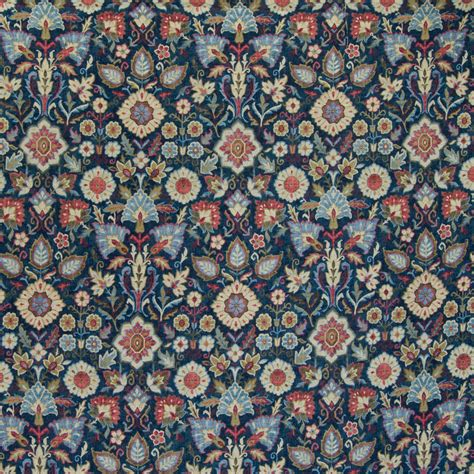 Linen Floral Pattern Navy classic navy blue floral linen upholstery fabric