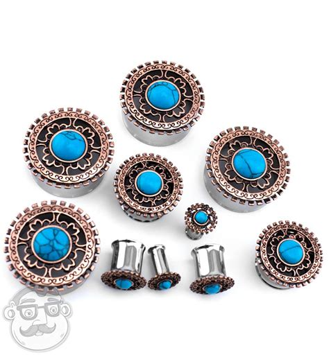 Rose Gold Lineal Top With Turquoise Inlay Steel Plugs