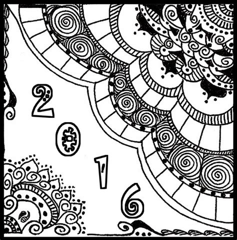 coloring page for new year 2016 adult coloring page new year 2016 happy new year card 2016 2