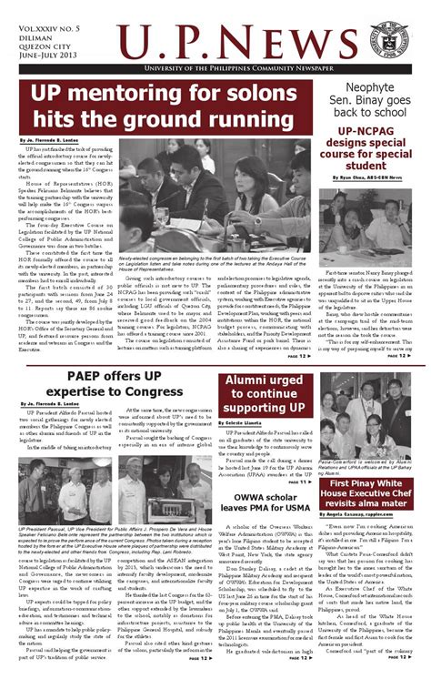college newspaper up news june july 2013 by of the philippines