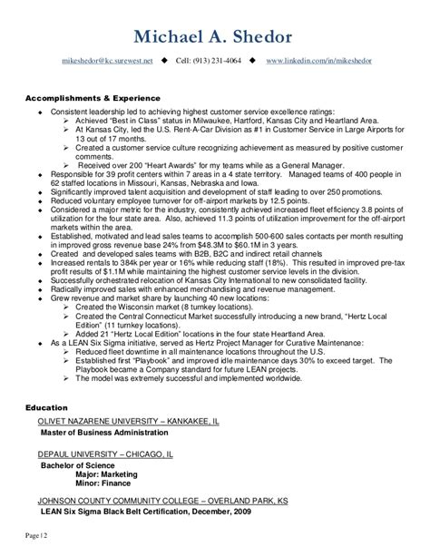 Sample Resume Objectives For Quality Assurance by Continuous Improvement Amp Operations Leader Resume Of Mike