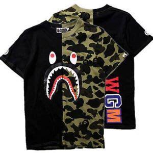 Kaos Bape Tees A Bathing Ape Tshirt Bapeshark Bape Shark 2 new mens bape a bathing ape shark camo army t shirt tops xl purple ebay