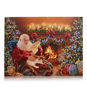 Winter lane santa by the fire fiber optic 18 quot x 24 quot canvas by dona