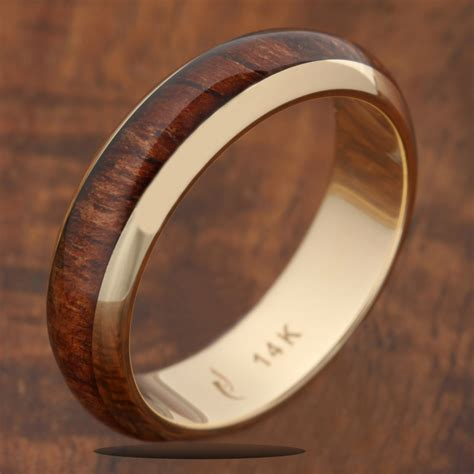 14k solid yellow gold with koa wood inlay wedding ring 5mm