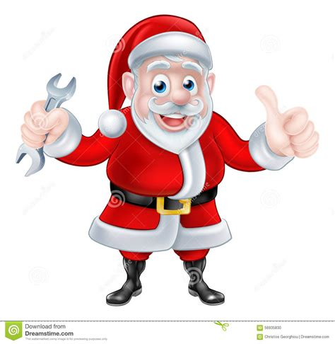 Santa Plumbing by Santa Giving Thumbs Up And Holding Spanner Stock