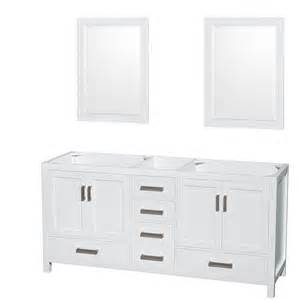 Bathroom Vanity 72 Inch Wyndham Collection Wcs141472dwhcxsxxm24 Sheffield 72 Inch Bathroom Vanity In White No