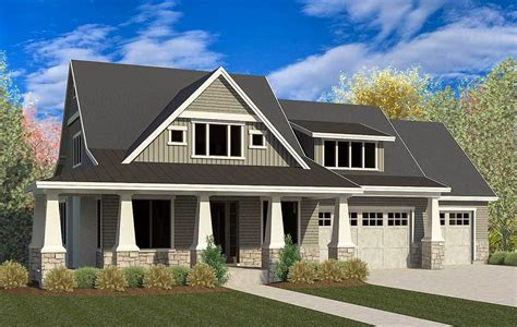 craftsman house plan with 3 car garage and master on