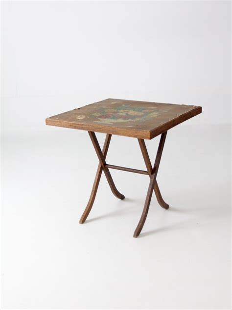 Small Wooden Folding Table Vintage Wood Folding Table With Floral Top 86 Vintage