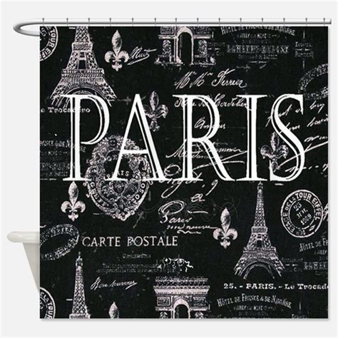 paris fabric shower curtain black and white paris shower curtains black and white