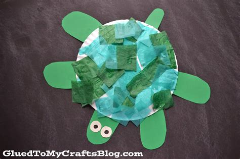 Turtle Paper Plate Craft Template - paper plate turtle kid craft