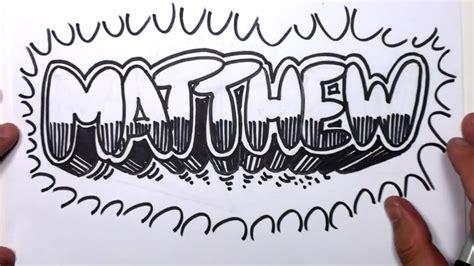 draw graffiti letters write matthew  bubble