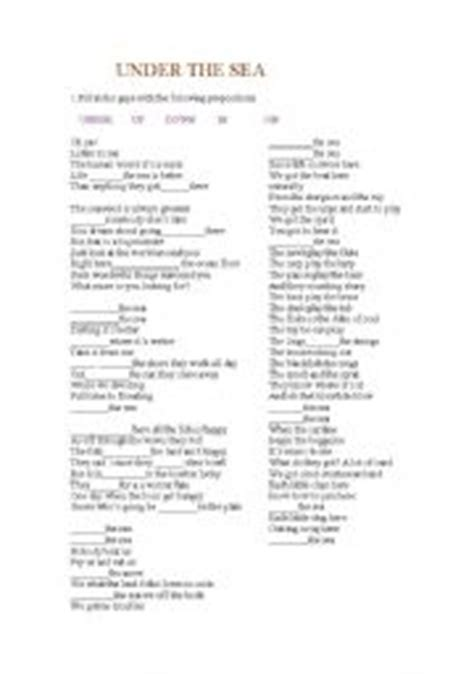 printable lyrics to under the sea english teaching worksheets under the sea
