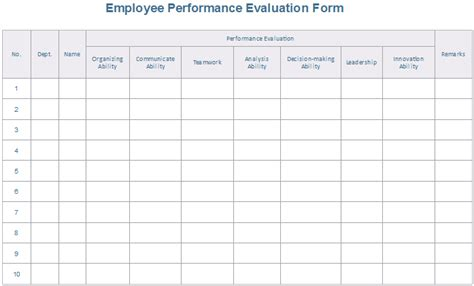 employee performance evaluation form 8 downloadable evaluation form exles