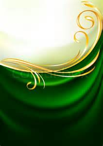 Green fabric curtain background gold vignette vector colourbox