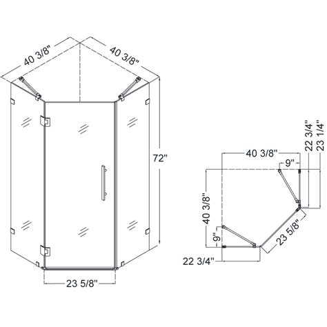 Shower Door Dimensions Prismlux Hinged Shower Enclosure
