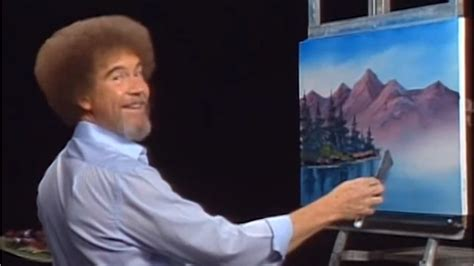 bob ross painting pbs pbs painter bob ross is now a character
