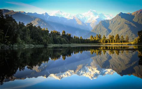 mountains river reflections nature landscape