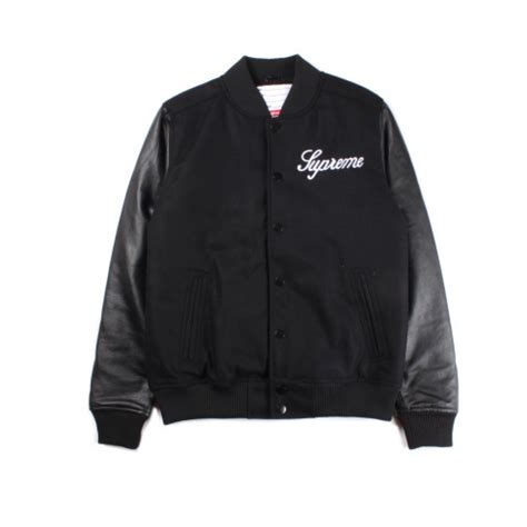 Button Jacket supreme team button up varsity jacket black