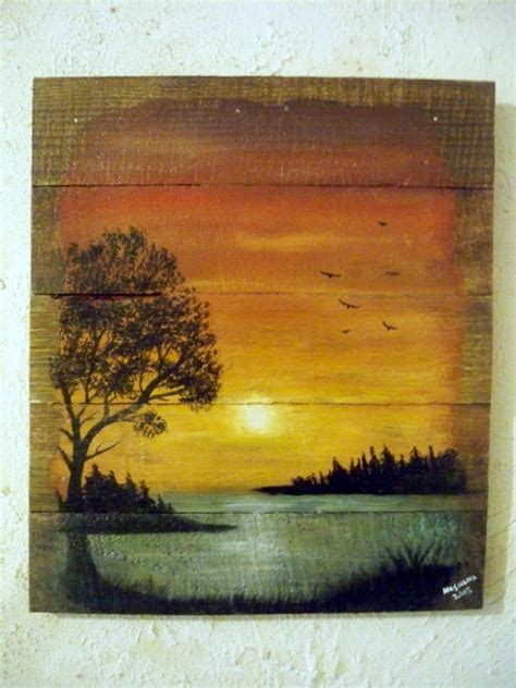 Painting Wood by Pallet Wood Painting Landscape Lake Sunset Acrylic On