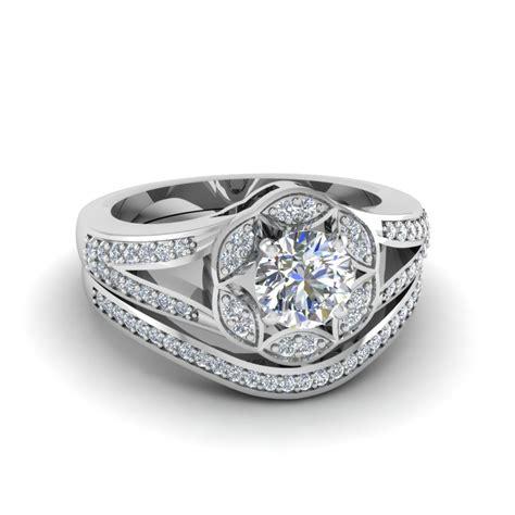 cut floral halo split wedding ring set in
