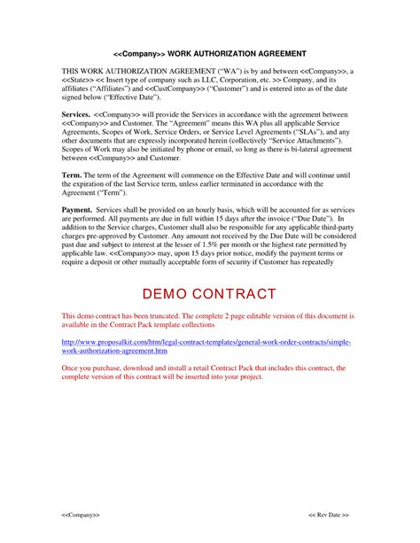 terms of agreement contract template simple work authorization agreement the simple work