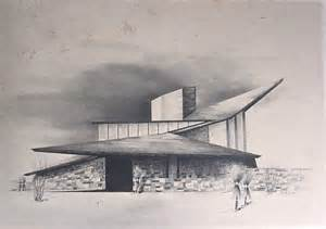 House Architecture Drawing by Mid Century Modern Home Sketch By Architect Richard B