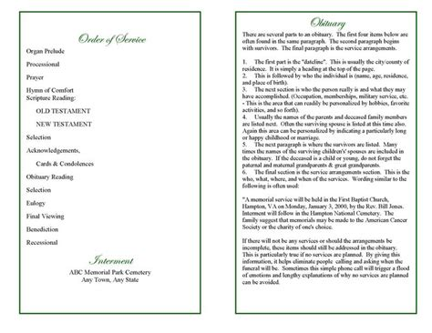 order of service for funeral template blank funeral program template with order of service and