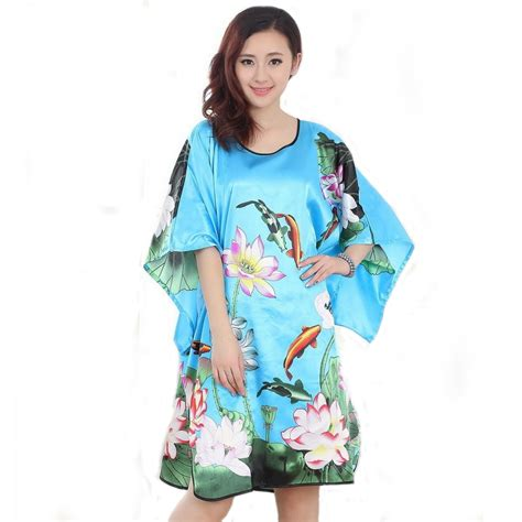 New Arrival Kimono Mandi Hps105 aliexpress buy new arrival blue silk rayon robe dress mini summer