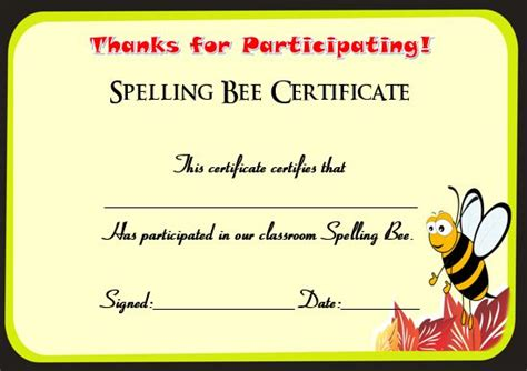 21 Free Printable Spelling Bee Certificates: Participation
