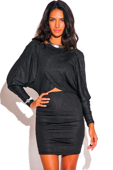 Fitted Mini Dress With Cut On Breastry7270 Import dress draped cut out dolman sleeve sleeves cowl