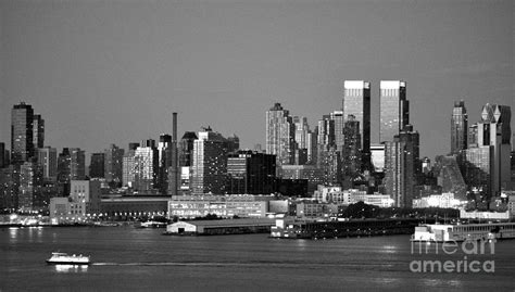 new york city skyline black and white photograph by kathy