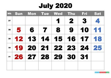 printable july  calendar word  image  printable  calendar  holidays