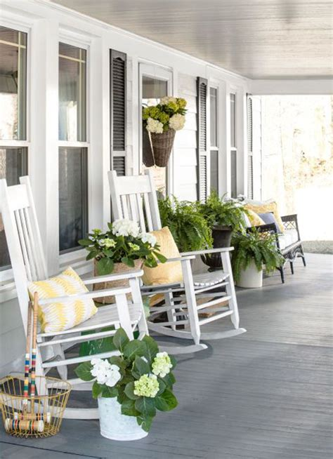 screened porch makeover concrete floor cozy front porch with pops of yellow home design and