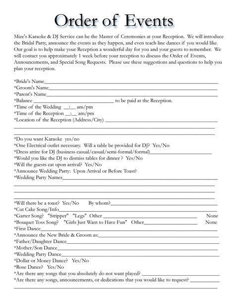 Wedding Event Template Wedding Itinerary Templates Free Wedding Template Projects To Try Pinterest Wedding