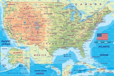 physical map of the united states for usa travel around usa