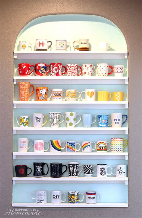 diy display shelves diy mug collection display shelves happiness is