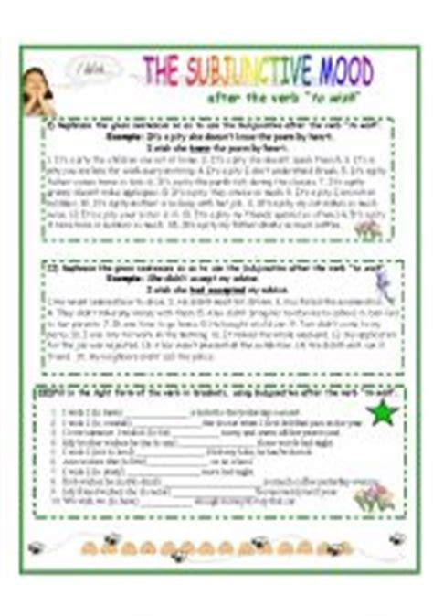 Verb Moods Worksheet by Teaching Worksheets The Subjunctive